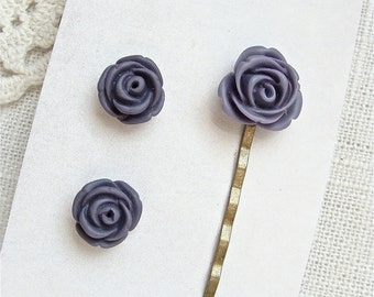 Bobby Pin And Post Earring Set.  Grape Purple.  Jewelry By Sweet And Simple.