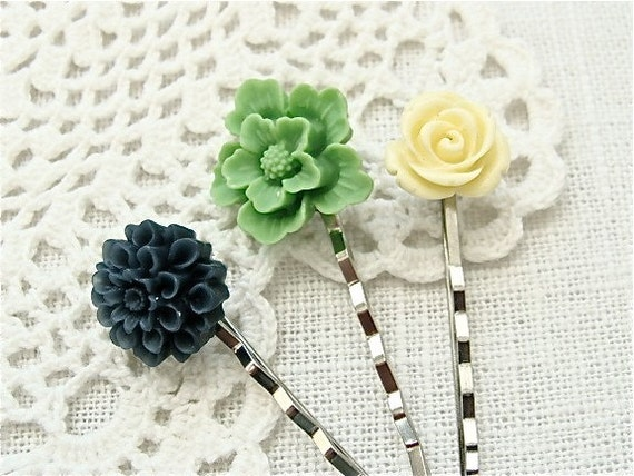 Sweet And Simple Hair Pins.  Silver
