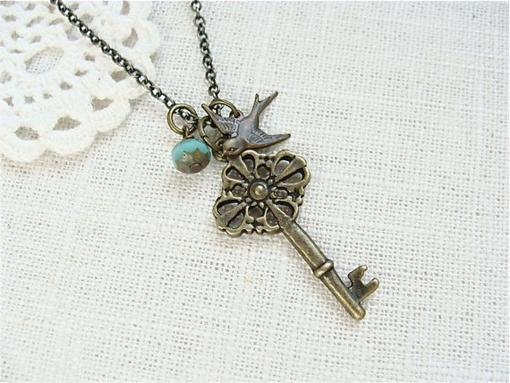 Whimsical Key Necklace.  Antique Brass