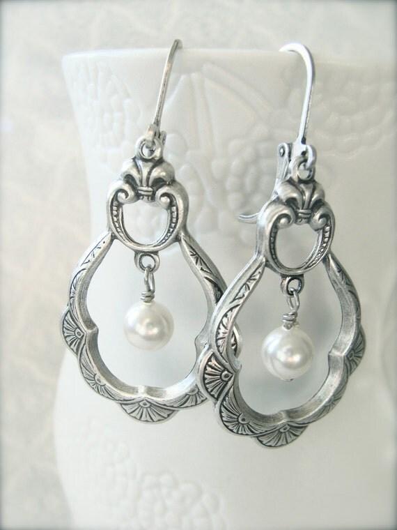 Antique Silver Pearl Earrings