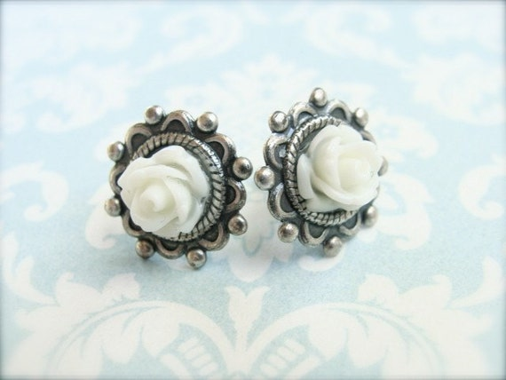 White Roses.  Antique Silver Post Earrings