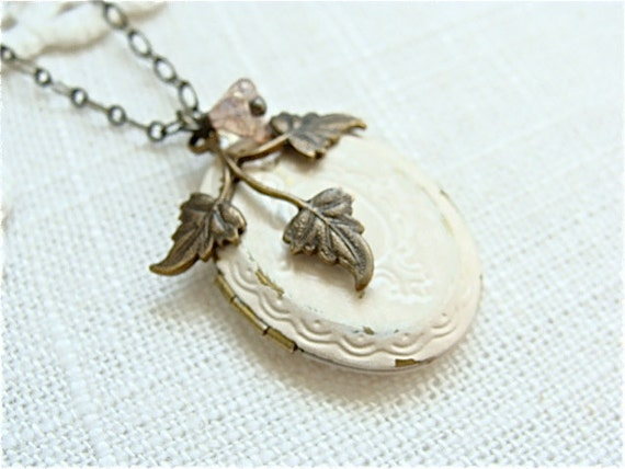 Perfect For Fall.  Shabby Cream Locket Necklace, Brass Leaf Spray And Tiny Pink flower.