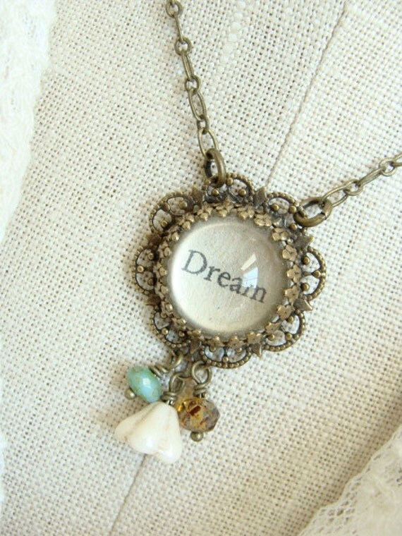 DREAM.  Antique Brass Inspirational Beaded Necklace.