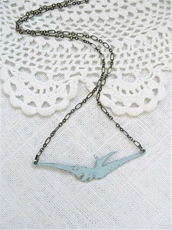 Rustic Blue Sparrow Necklace.  Antique Brass Chain. Shabby Chic.