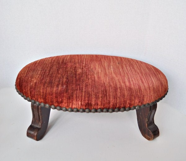 Antique Small Oval Footstool Coral Crushed Velvet Brass Head
