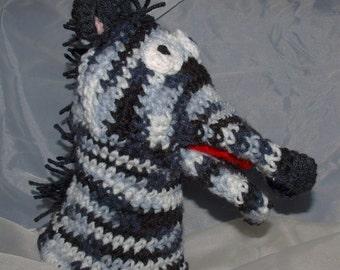 Crocheted Zebra Hand Puppet