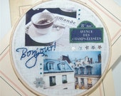 Summertime in Paris - Hand embroidered collage wall hanging - Holiday Sale - new reduced price