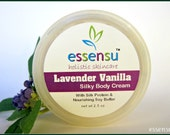 Lavender Vanilla Natural Rich Luxury Body Cream with Silk Protein | Nourishing Plant Oils | Non-Greasy | No Parabens or Phthalates - 2.5 oz