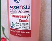 Strawberry Crush Aloe Vera Moisturizing Natural Body Wash | Sensitive Skin | Vegan | No Sulfates , No Parabens , No Artificial Dyes - 8 oz