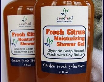Fresh Citrus All Natural Glycerin Aromatherapy Soap Based Body Wash | Moisturizing Shower Gel | Essential Oil Scented | Vegan - 8 oz