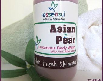 Asian Pear Aloe Vera Moisturizing Organic Soya Oil Enriched Botanical Luxury Body Wash | Sensitive Skin , Dry Skin | No Sulfates - 9 oz