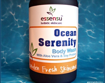 Ocean Serenity Aloe Vera Botanical Natural Nourishing Body Wash | Suitable for Sensitive Skin | Vegan | No Sulfates | No Parabens - 8 oz