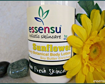 Sunflower Replenishing Natural Botanical Body Lotion | Vegan | No Parabens , No Mineral Oil , No Phthalates | Soya Butter Enriched - 8 oz