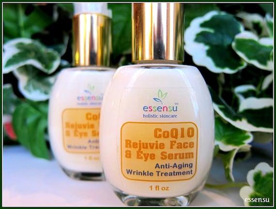 Best Organic CoQ10 Rejuvie Wrinkle Repair Facial Treatment Serum   DMAE , Alpha Lipoic Acid , MSM   Tighten , Tone Lift Sagging Skin - 1 oz