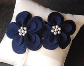 Ring Bearer Pillow - Ivory Satin Ring Pillow with Hand Cut Navy Flowers and Glass Pearls - Gabrielle