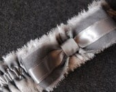 Gray and Ivory Chiffon Bridal Garter with Pleated Chiffon and Striped Bow - Julien