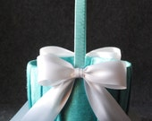 High Society Collection - Jillian Flower Girl Basket - White on Aqua