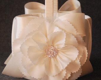 Flower Girl Basket - Ivory Flower Girl Basket with Ivory Flower and Bow - Aerin