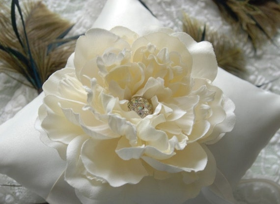 Bloom Collection - Cream Satin Pillow with Large Ivory Bloom