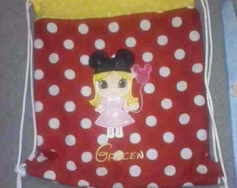 Kids  Embroidered and Personalized Drawstring Backpack