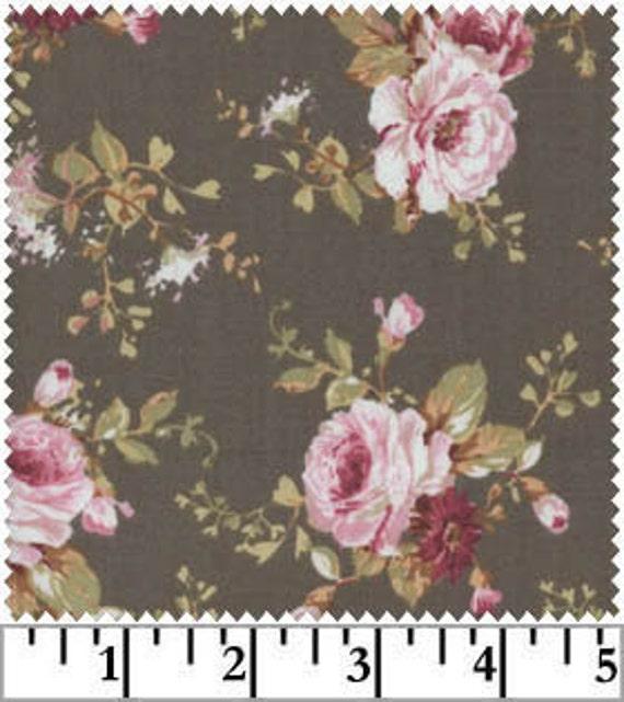 Victorian Roses - Fabri-Quilt Fabrics - END OF BOLT - Designer Cotton Quilt Fabric - Floral, Gray, Grey, Pink, Bouquet
