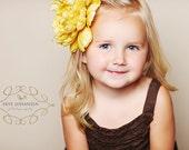 Baby Flower Clip,Toddler Hair Clip, Flower Hair Clip, Mustard Hair Clip, Yellow Hair Clip, Peony Flower Clip, Photo Prop