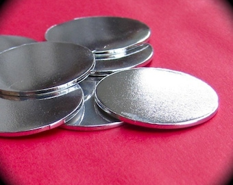 15 Polished 3/4 Inch Discs 14 Gauge Heavy Weight Pure Food Safe Metal - 15 Discs