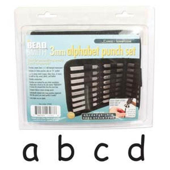 Beadsmith Letter Stamps - Comic Lowercase Punch 27 Piece Set with Case (3MM) In Stock