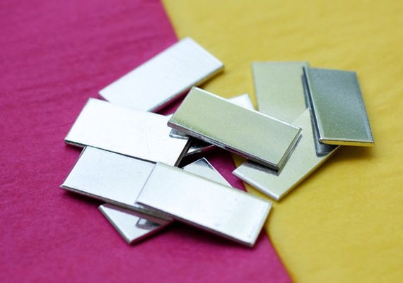 "100 Blanks 3/4"" x 1-1/2"" Tumble Polished 18 Gauge Hard Temper Rectangles Food Safe Aluminum - QTY 100"