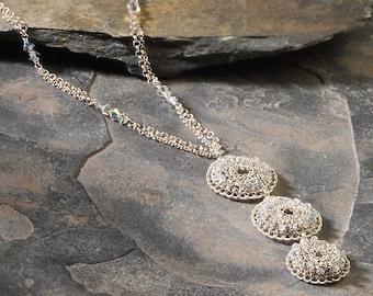 CHIARO di LUNA (moonlight), Necklace, silver, crystals (OOAK)
