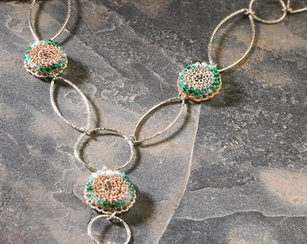 ENCHANTED WOODS, Necklace, rose gold, silver, green onyx (OOAK)