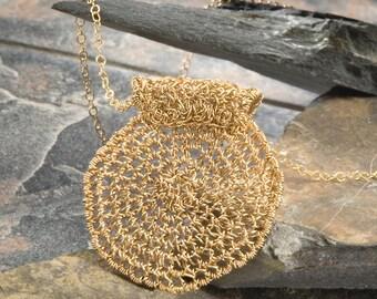 SUN, Pendant, round, gold filled (OOAK)