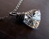 Necklace, Oxidized Sterling Silver, Trillion Cut Crystal Quartz, AAA Quality Gems, handmade in Australia
