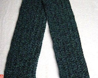 044 - Green variegated Chenille Scarf (CHILD)