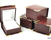 24 croc embossed dior red leatherette earring presentation boxes