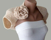 Romantic Bridal Shrug Wedding Bolero - Hand  Knit with crochet Flower in peach