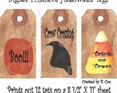 Halloween Tags Printable Download Pumpkin Crow Candy Corn Labels for Jars Boxes Bottles Crates Crocks Scrapbooking Greeting Cards DIY