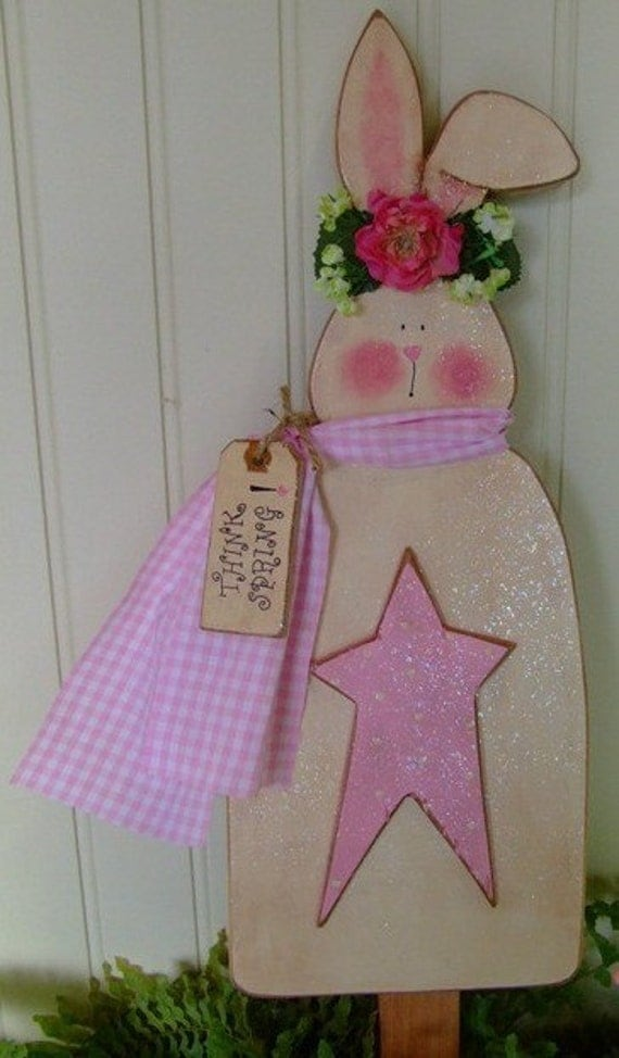 Digital wood pattern bunny stake shabby cottage chic instant download uprint diy star pink tag quick easy simple wood wooden sparkle glitter