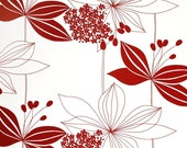 RESERVED FOR deedee1200 - upholstery - 2 yards of large flower motif, red and white fabric