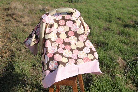 Car Seat Cover/Canopy in a modern pink, brown and white cirlce fabric