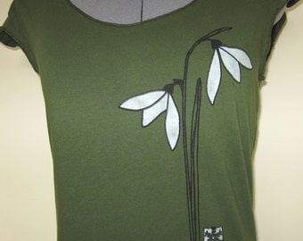 Snowdrop Flower T shirt for Women Scoop Neck