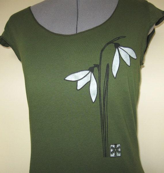 Snowdrop Flower T shirt for Women Scoop Neck