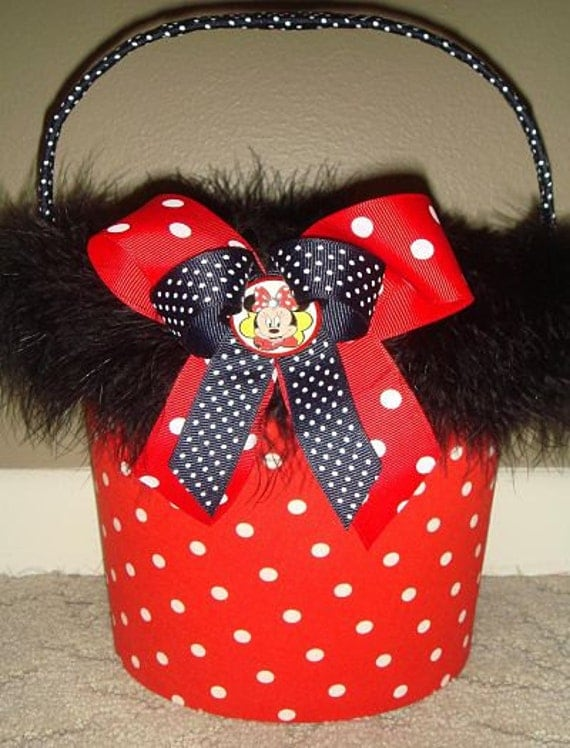 Custom Halloween Candy Pail or Birthday Centerpiece M2M Minnie Mouse Costume