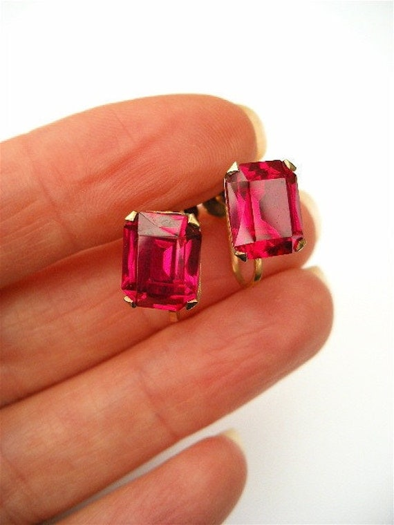 Vintage 9ct gold screwback earrings emerald cut Synthetic Ruby c1940's