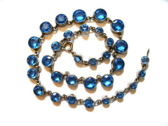 Vintage Art Deco Czech signed sapphire blue crystal necklace-open back setting c1920's