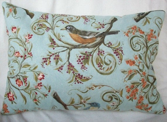 Travelers Bird Pillow - Sage Green Lavender Buckwheat  Neck Roll  Song Birds - Robin Nuthatch Chickadee Blue Bird