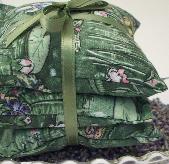 Lavender Sachets - Lily Pad Dragonfly Butterfly Iris - Monet Garden Pond Style Home and Living Decor