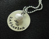 Aidan Necklace- Smooth sterling silver disk with pearl or birthstone- Personalized and HAND STAMPED necklace with name