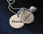 Hand stamped necklace--Personalized jewelry--STERLING SILVER Name necklace--Mother's Jewelry-- Nolan Necklace