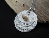 Hand stamped personalized jewelry--Sterling silver necklace with names--Mother's name necklace--Custom necklace-- The Chloe Necklace